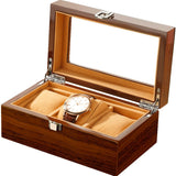 Wholesale china handmade luxury black brown wood smooth watch box for 3 watches storage - Boite Giordano