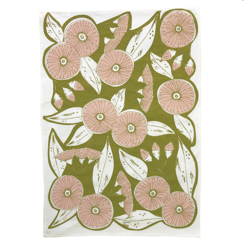 Gum Flower Tea Towel Green