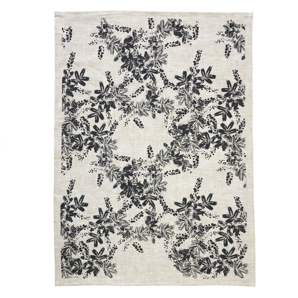 Wattle Tea Towel Black