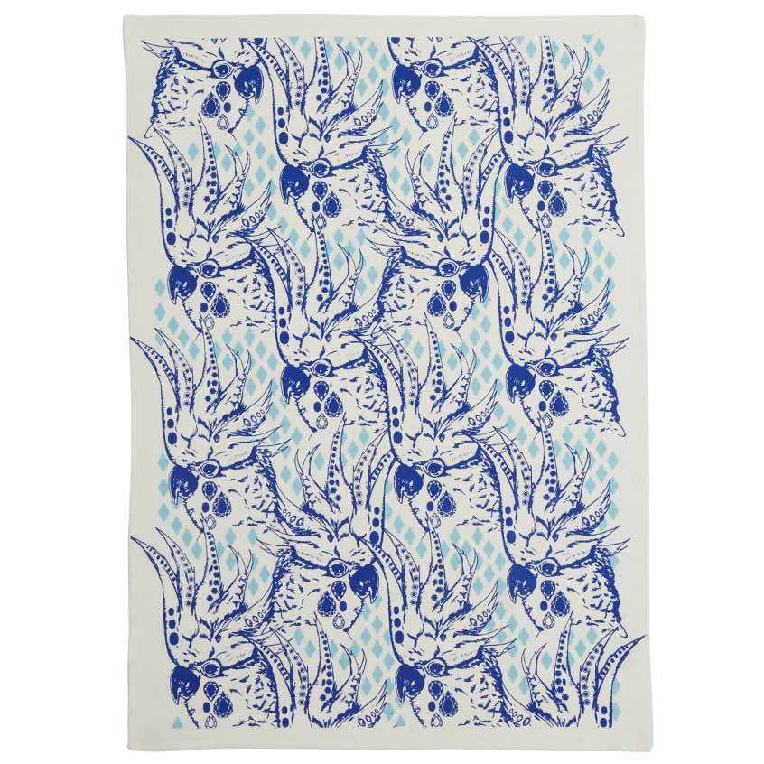 Cocky Tea Towel Cobalt