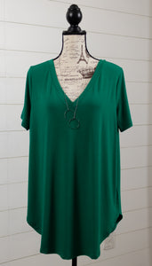 Girlfirend Tunic Tee Plus-Forest Green