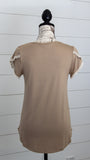 Mocha petal sleeve top