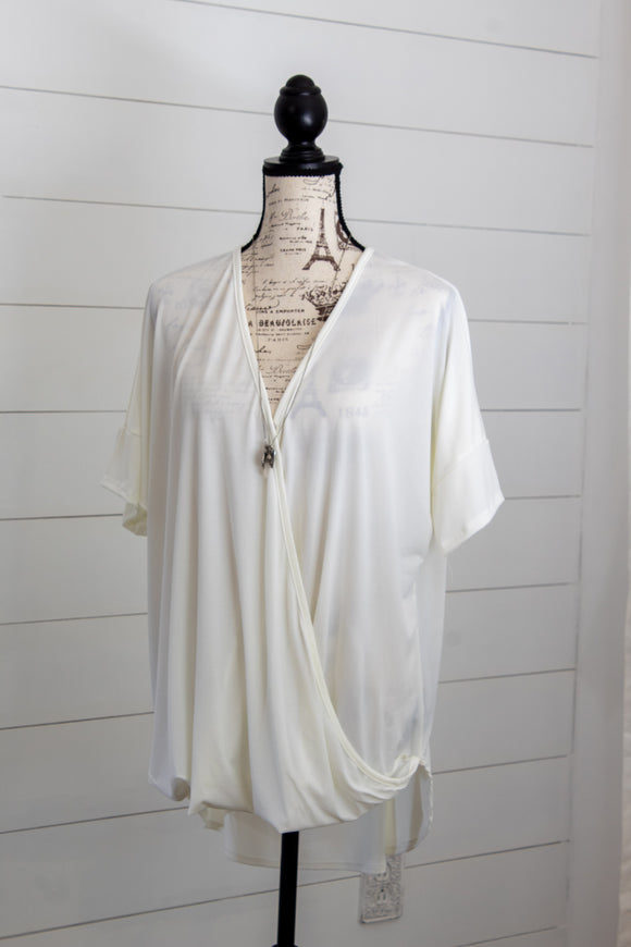 White Lines Wrap Top- Curvy