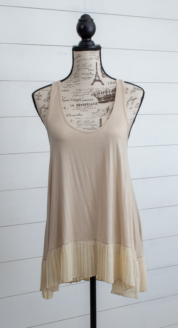 Lovely Day Blush Pleated Tank- Regular + Plus