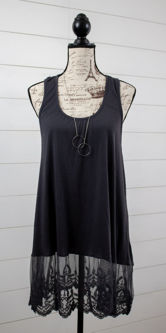 Leather + Lace Tank- Curvy