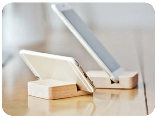 Wooden table phone holder