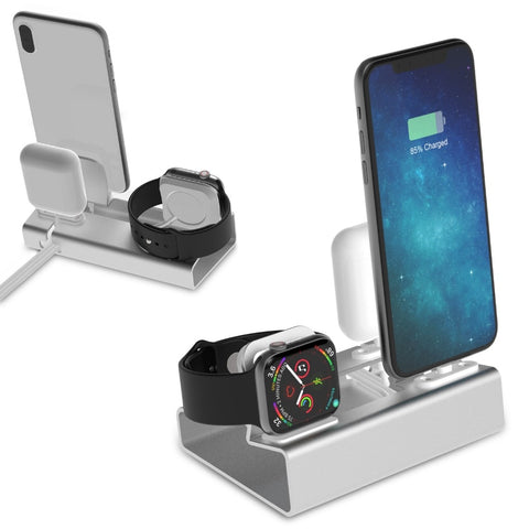 Aluminum Charging Station 3 in 1 - For iPhone + Apple Watch + Airpods Charger