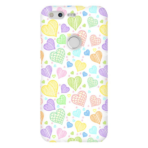 Colorful-hearts-White-phone-case-Google-Pixel Blast Case LITE For Google Pixel