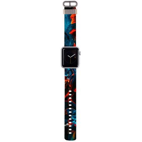 WATCH STRAP - Flowers - stained blue for apple watch 38 mm in Nylon