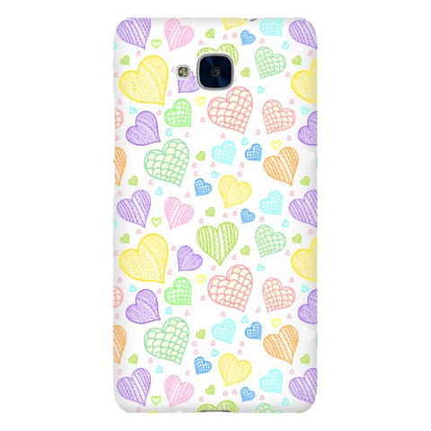 Colorful-hearts-White-phone-case-Huawei Blast Case LITE For Huawei Honor 5C