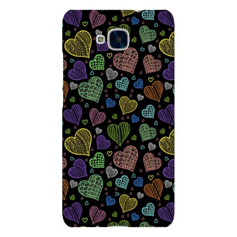Colorful-hearts-black-phone-case-Huawei Blast Case LITE For Huawei Honor 5C