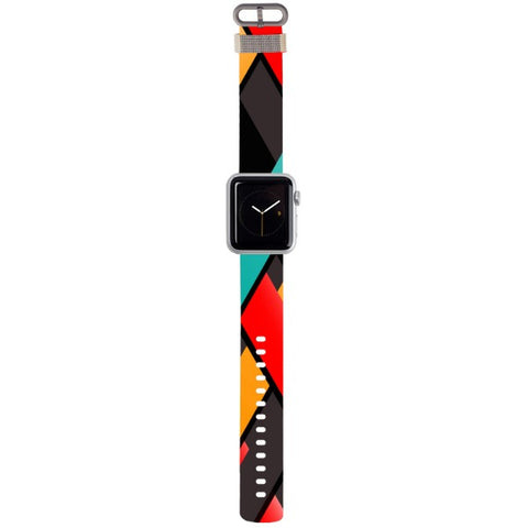 WATCH STRAP - GEO Lines black for apple watch 38 mm in Nylon