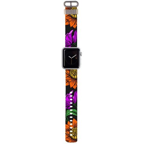 WATCH STRAP - Flowers - orange for apple watch 38 mm in Nylon