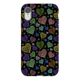 Colorful-hearts-black-phone-case-IPhone Blast Case PRO For iPhone XR