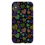 Colorful-hearts-black-phone-case-IPhone Blast Case PRO For iPhone X