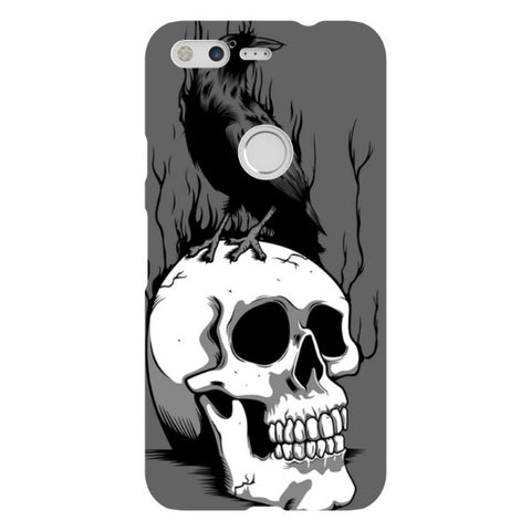 Raven-on-a-skull-Illustration-phone-case-Google-Pixel Blast Case LITE For Google Pixel