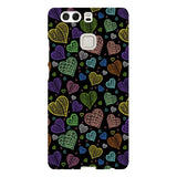 Colorful-hearts-black-phone-case-Huawei Blast Case LITE For Huawei P9