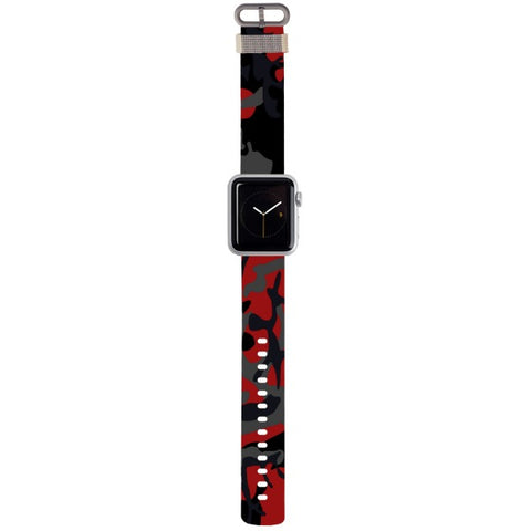 WATCH STRAP - CAMO - red for apple watch 38 mm in Nylon