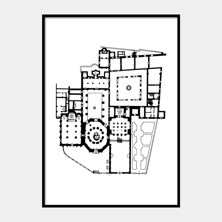 Art print of the architectural plan of Basilica of Santo Stefano that is composed of seven churches, in black on a white background and the poster is framed