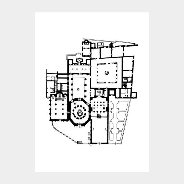 Art print of the architectural plan of Basilica of Santo Stefano that is composed of seven churches, in black on a white background