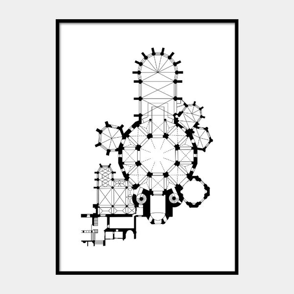 Art print of the architectural plan of the Aachen Cathedral, in black on a white background and the poster is framed