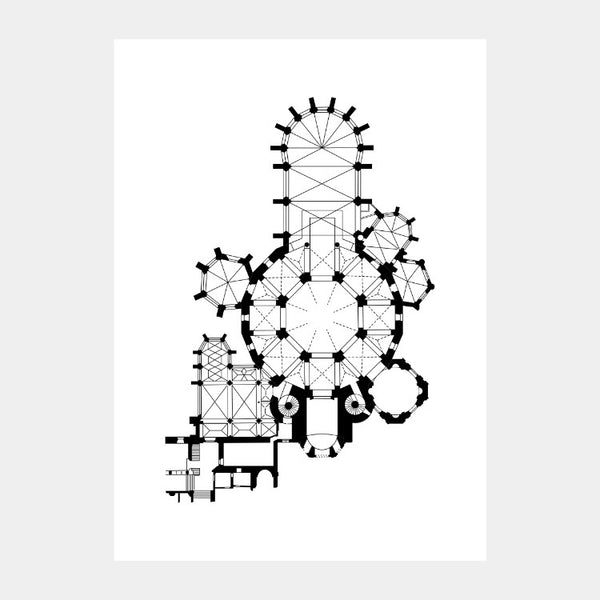 Art print of the architectural plan of the Aachen Cathedral, in black on a white background