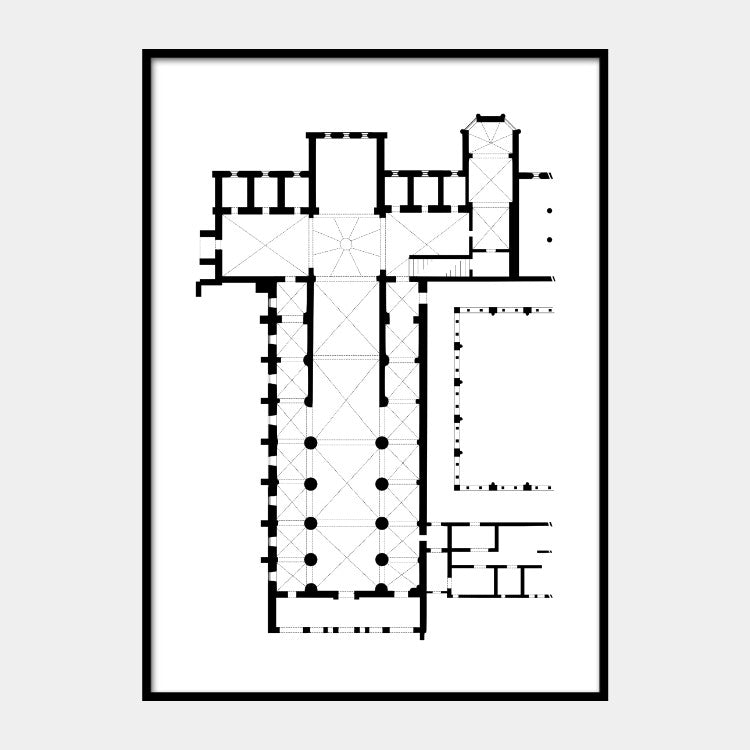 Art print of the architectural plan for the Abbey of Santa Maria di Rovegnano church, in black on a white background and the poster is framed