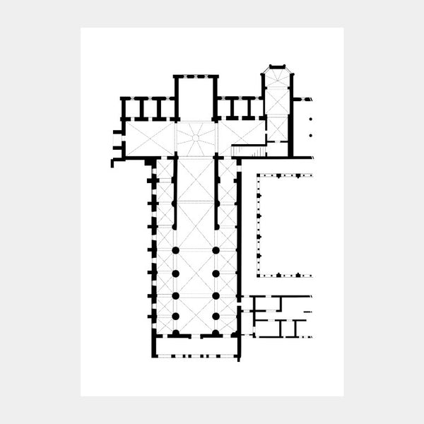 Art print of the architectural plan for the Abbey of Santa Maria di Rovegnano church, in black on a white background