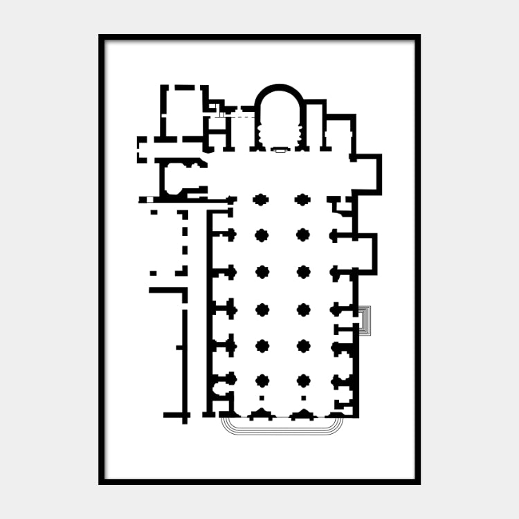 Art print of the architectural plan for the Saint Mary above Minerva, in black on a white background and the poster is framed