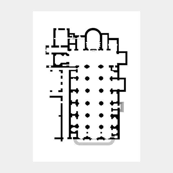 Art print of the architectural plan for the Saint Mary above Minerva, in black on a white background