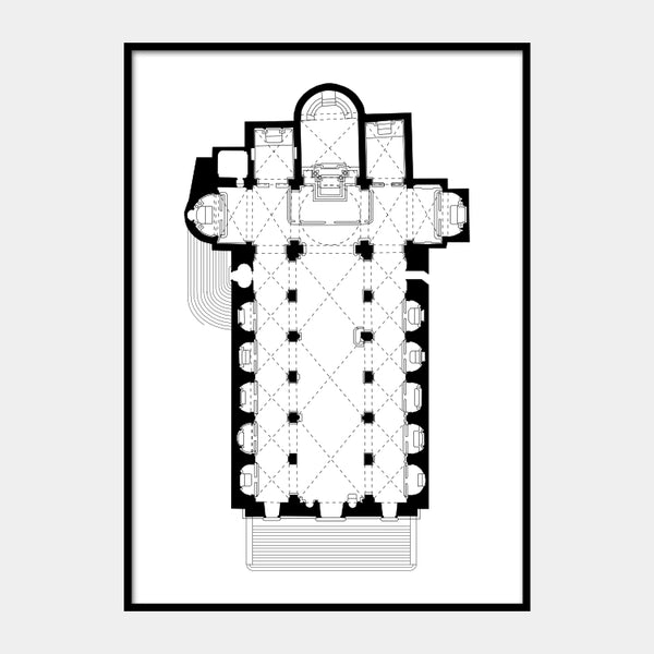 Art print of the architectural plan for the Sant'Agostino Church, in black on a white background and the poster is framed