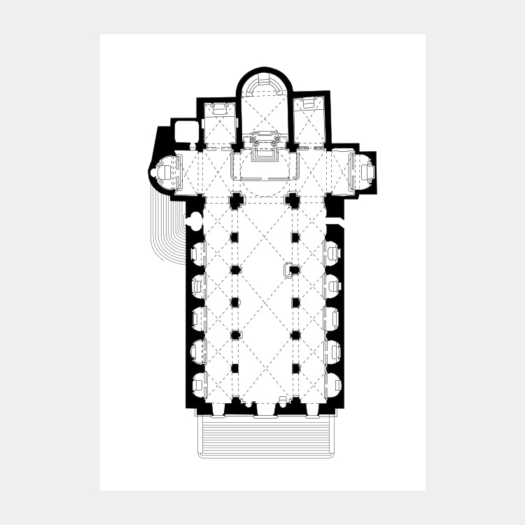 Art print of the architectural plan for the Sant'Agostino Church, in black on a white background