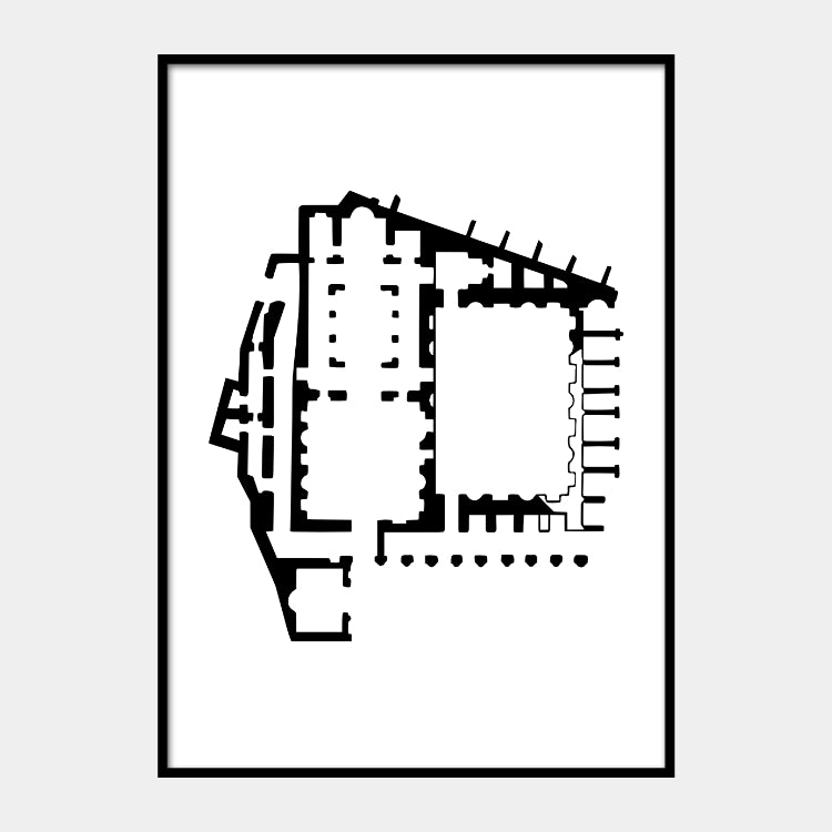 Art print of the architectural plan for the Ancient Church of Saint Mary, in black on a white background and the poster is framed