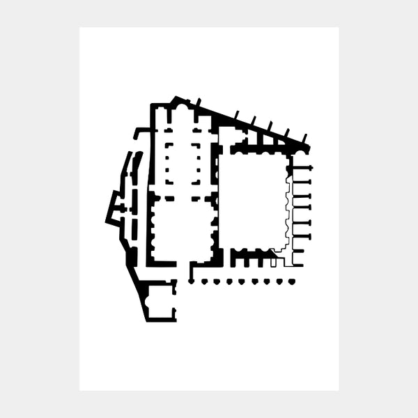 Art print of the architectural plan for the Ancient Church of Saint Mary, in black on a white background