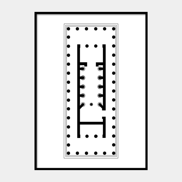 Art print of the architectural plan for the Temple of Apollo Epicurius, in black on a white background and the poster is framed
