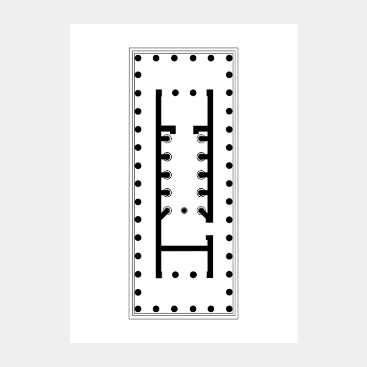 Art print of the architectural plan for the Temple of Apollo Epicurius, in black on a white background