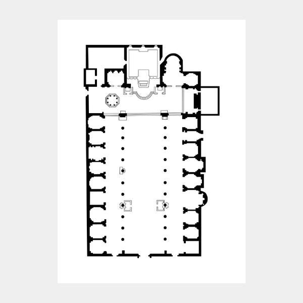 Art print of the architectural plan for the Altar of Heaven Church, in black on a white background