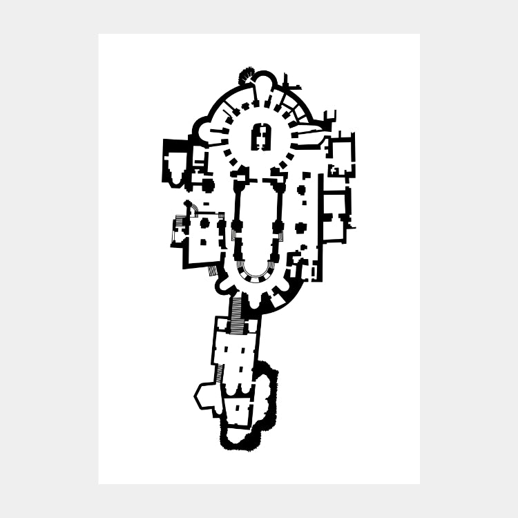 Art print of the architectural plan for the Church of the Holy Sepulchre, in black on a white background