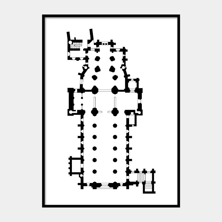 Art print of the architectural plan for the Christ Church Cathedral, in black on a white background and the poster is framed