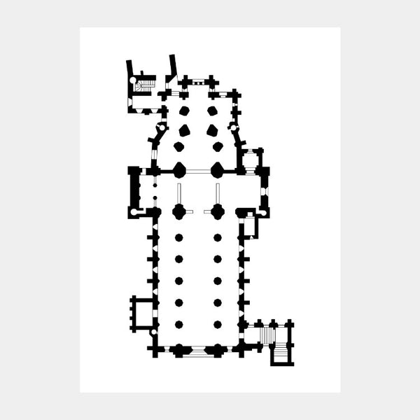 Art print of the architectural plan for the Christ Church Cathedral, in black on a white background