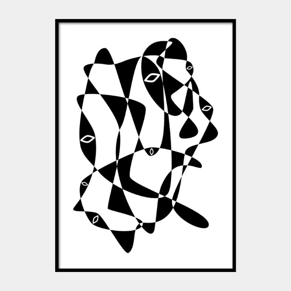 Graphical print of an abstract eye cluster, in black on a white background and the poster is framed