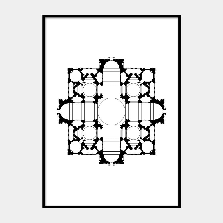 Art print of Bramante's architectural plan for St. Peter's Basilica, in black on a white background and the poster is framed
