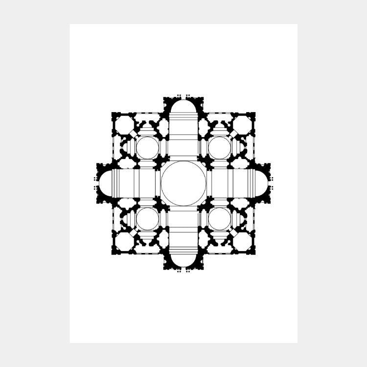 Art print of Bramante's architectural plan for St. Peter's Basilica, in black on a white background