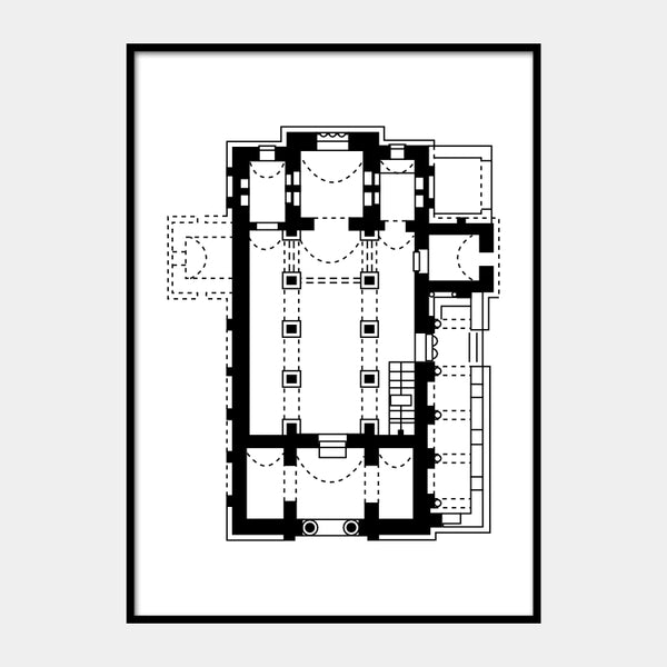 Art print of the architectural plan for the Church of the Holy Savior, in black on a white background and the poster is framed