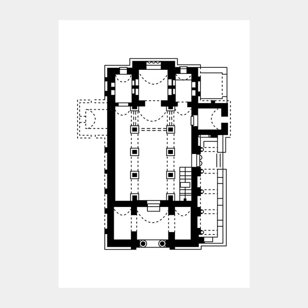 Art print of the architectural plan for the Church of the Holy Savior, in black on a white background