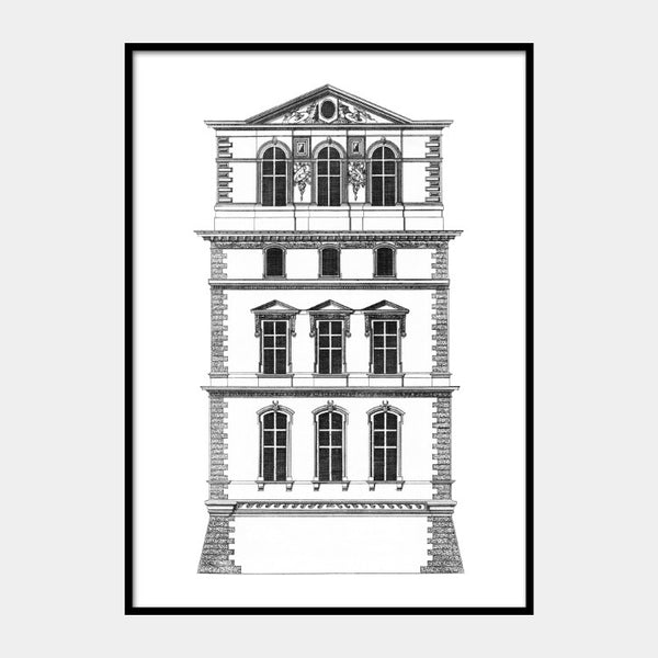 Facade Art print of the Pavillon du Roi of the Louvre Palace, in black on a white background and the poster is framed