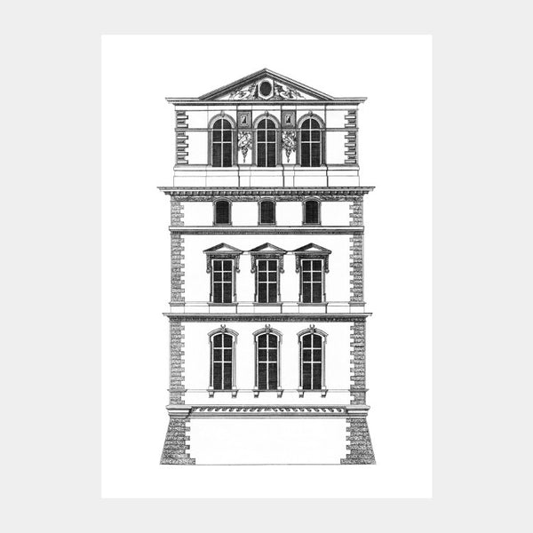 Facade Art print of the Pavillon du Roi of the Louvre Palace, in black on a white background
