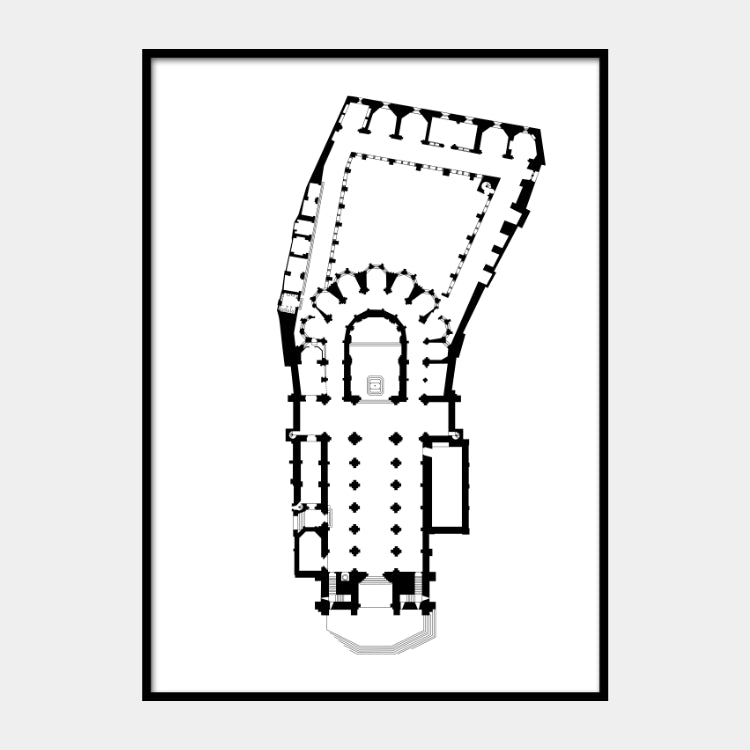 Art print of the architectural plan for the Santa Maria Maior cathedral, in black on a white background and the poster is framed