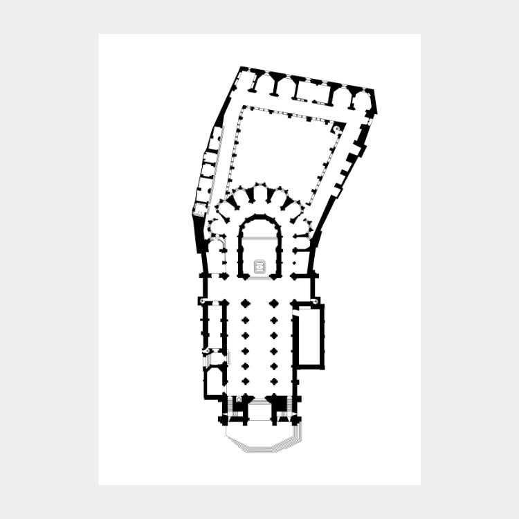 Art print of the architectural plan for the Santa Maria Maior cathedral, in black on a white background