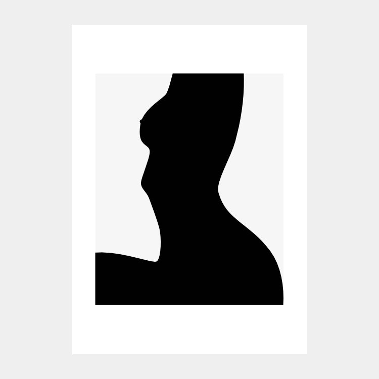 Graphical print of a female silhouette doing a morning stretch, in black on a light grey background